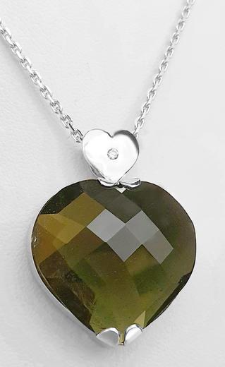 Zlatý přívěšek vltavínové srdce 023150  - 1