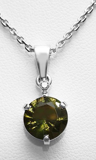 Zlatý přívěšek s vltavínem a diamantem 023577  - 1