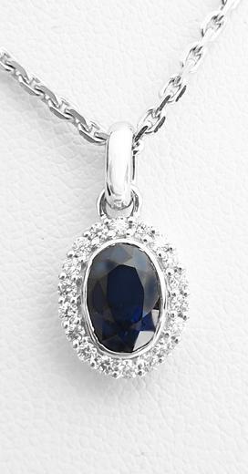 Zlatý přívěšek se safírem a diamanty 7018  - 1