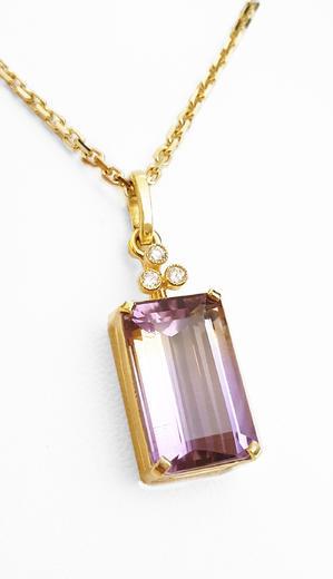 Zlatý přívěšek s ametrinem a diamanty 027229  - 1