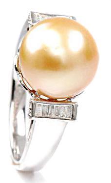 Zlatý prsten s perlou a diamanty PD505
