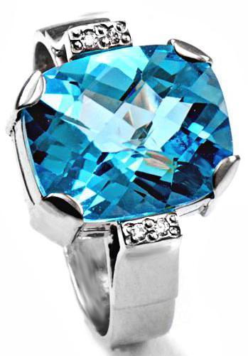 Zlatý prsten s topazem a diamanty PS544  - 1