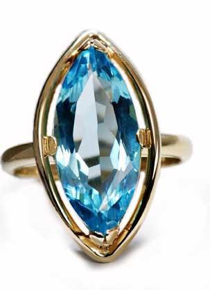 Zlatý prsten s topazem P891  - 1