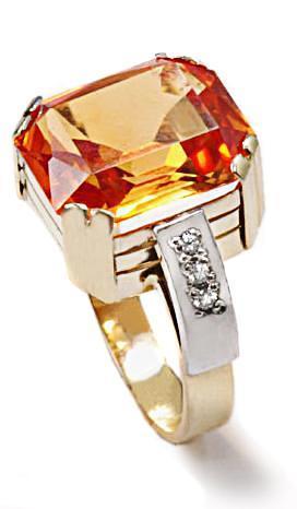 Zlatý prsten s padparadžou P956  - 1