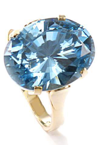 Zlatý prsten s akvamarínem P957  - 1