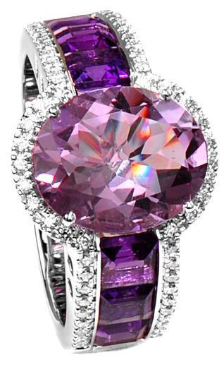 Zlatý prsten s ametysty a diamanty PD2014  - 1