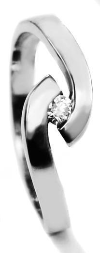 Zlatý prsten s diamantem 015060  - 1