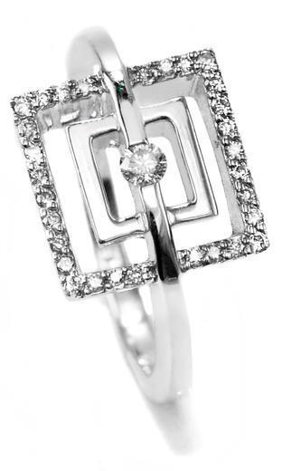 Zlatý prsten s diamanty 038446  - 1
