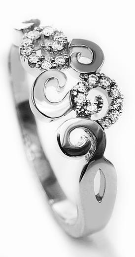 Zlaty prsten s diamanty 039128  - 1