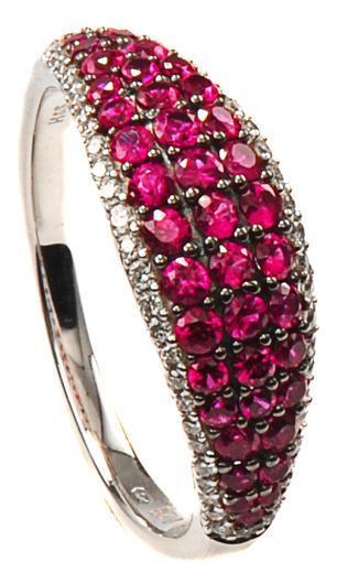 Zlatý prsten s rubíny a diamanty PD2013  - 1