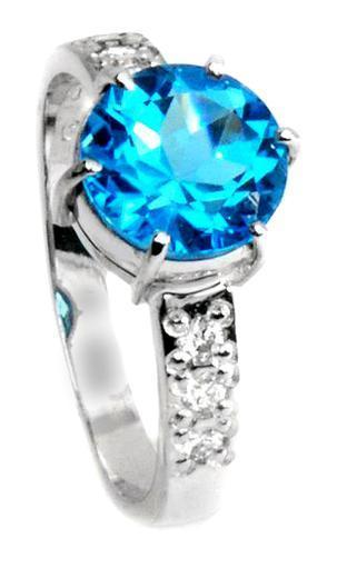 Zlatý prsten s topazem a diamanty PD2000  - 1