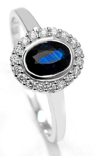 Zlatý prsten se safírem a diamanty 70114  - 1