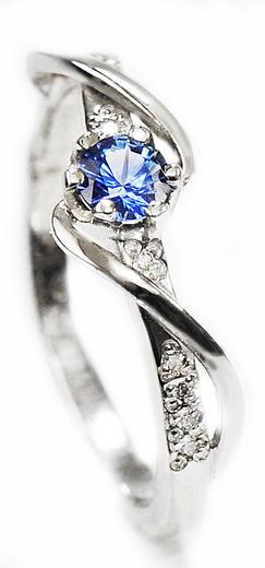 Zlatý prsten se safírem a diamanty 015084  - 1