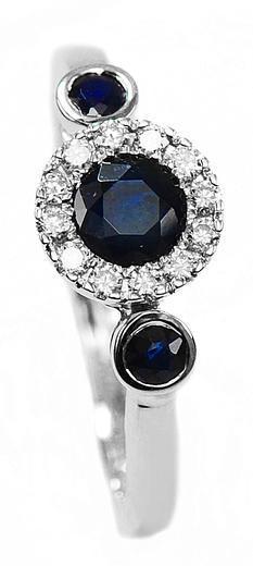 Zlatý prsten se safíry a diamanty 30168  - 1