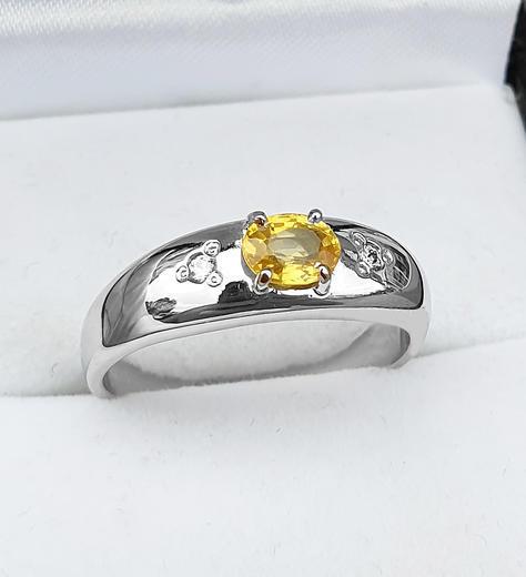 Zlatý prsten se safírem a diamanty 015297  - 2