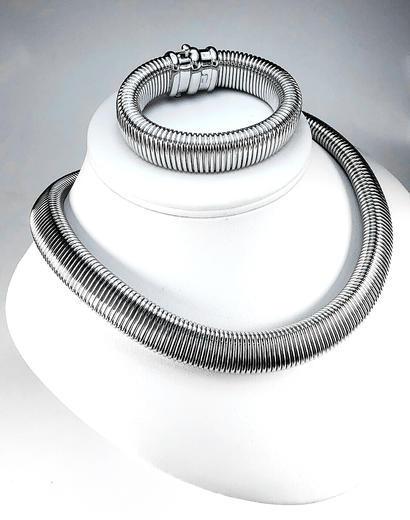 Stříbrná souprava Obojek náhrdelník a náramek 22072021  - 2