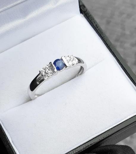 Zlatý prsten se safírem a diamanty 30146  - 2