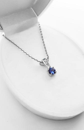 Zlatý přívěšek s tanzanitem a diamanty 023599  - 2