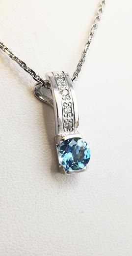 Zlatý přívěšek s topazem a diamanty 023567  - 2
