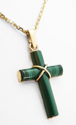Zlatý přívěšek s malachitovým křížem 021848  - 2