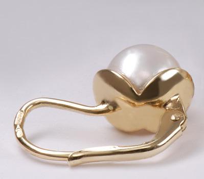 Zlaté náušnice s mořskou perlou N186  - 2