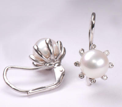 Zlaté náušnice s perlou a diamanty N182  - 2