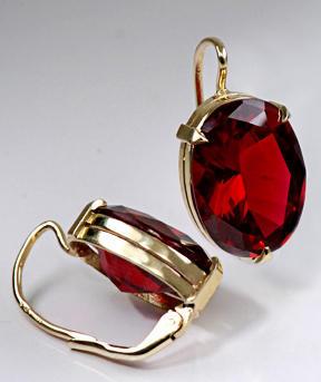 Zlaté náušnice s rubíny N254  - 2
