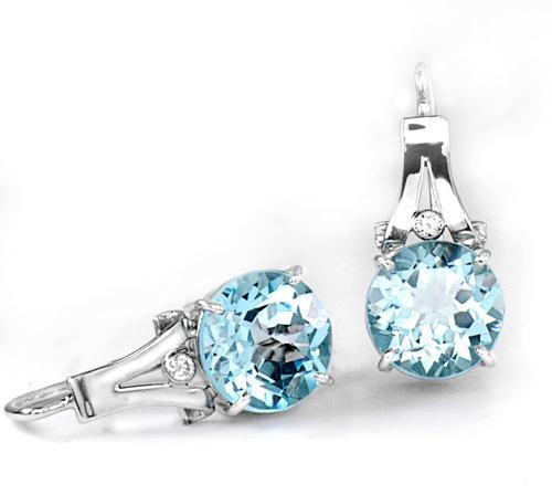 Zlaté náušnice s topazy a diamanty N500  - 2