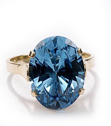 Zlatý prsten s akvamarínem P957  - 2