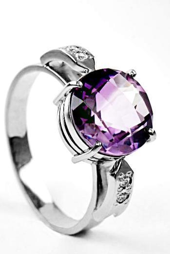 Zlatý prsten s ametystem a diamanty PD521  - 2