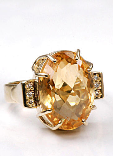 Zlatý prsten s citrínem a diamanty PD466  - 2