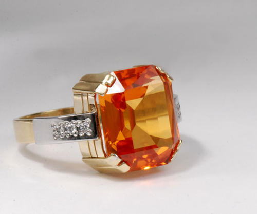Zlatý prsten s padparadžou P956  - 2