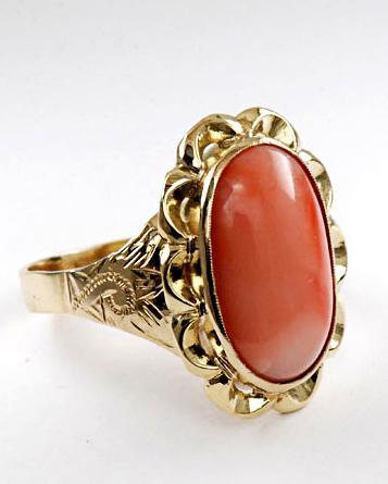 Zlatý prsten s korálem P950  - 2