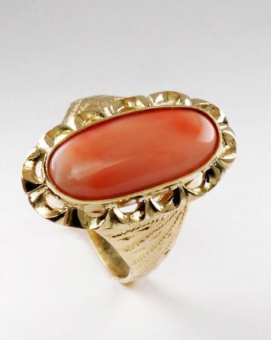 Zlatý prsten s korálem P949  - 2