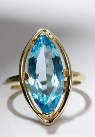 Zlatý prsten s topazem P891  - 2