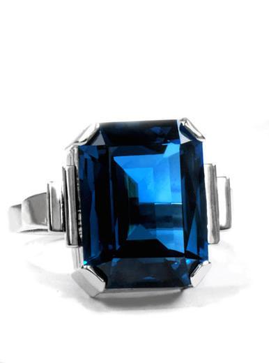 Zlatý prsten se safírem P961  - 2