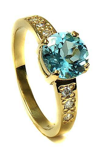Zlatý prsten s diamanty a topazem PD2001  - 2