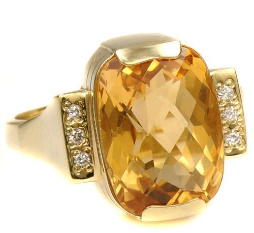 Zlatý prsten s citrínem a diamanty PD476  - 2