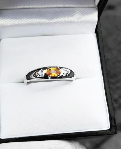 Zlatý prsten se žlutým safírem 015298  - 2