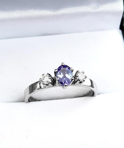 Zlatý prsten se safírem a diamanty 014976  - 2
