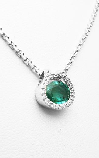 Zlatý přívěšek se smaragdem a diamanty 7060  - 2