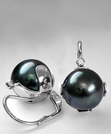 Zlaté náušnice s perlou a diamanty N158  - 2