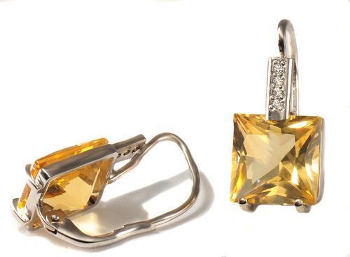 Zlaté náušnice s citríny a diamanty N3014  - 2