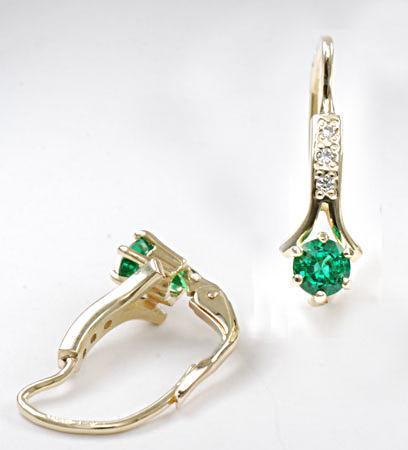 Zlaté náušnice se smaragdy a diamanty N295  - 2