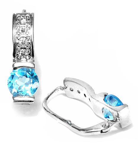Zlaté náušnice s topazy a diamanty N3005  - 2