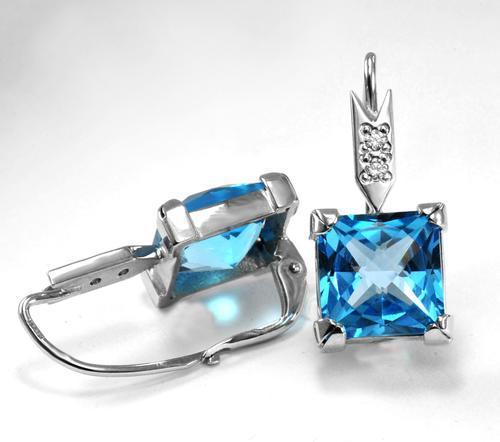 Zlaté náušnice s topazy a diamanty N3009  - 2