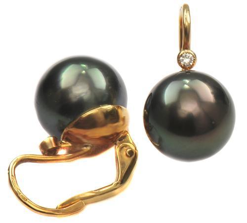 Zlaté náušnice s perlami a diamanty N3025  - 2