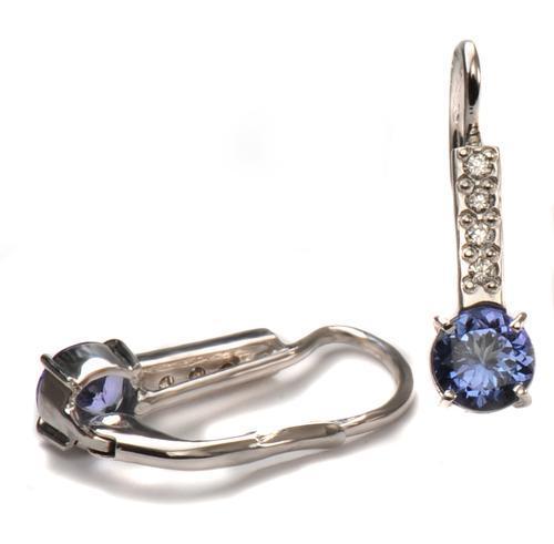 Zlaté náušnice s tanzanity a diamanty N3015  - 2