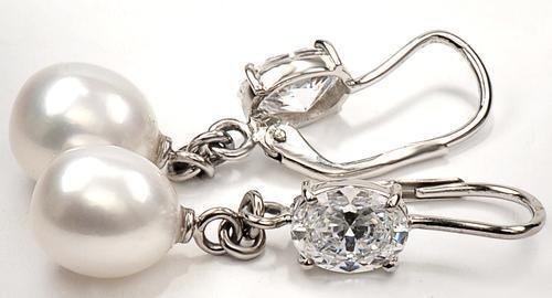 Zlaté náušnice s perlami a zirkony N3030  - 2