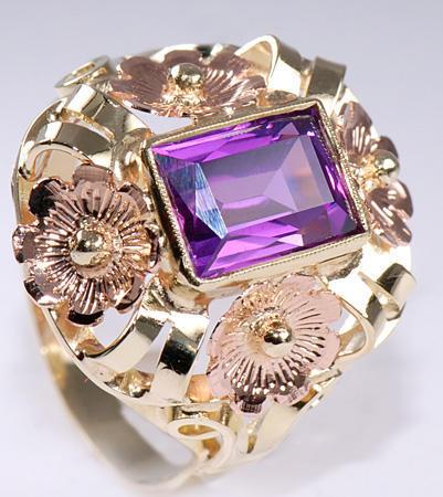 Zlatý prsten s ametystem P308  - 2